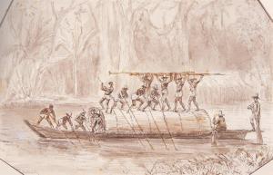 Champán remontando el río de la Magdalena. Riballier. 1840.