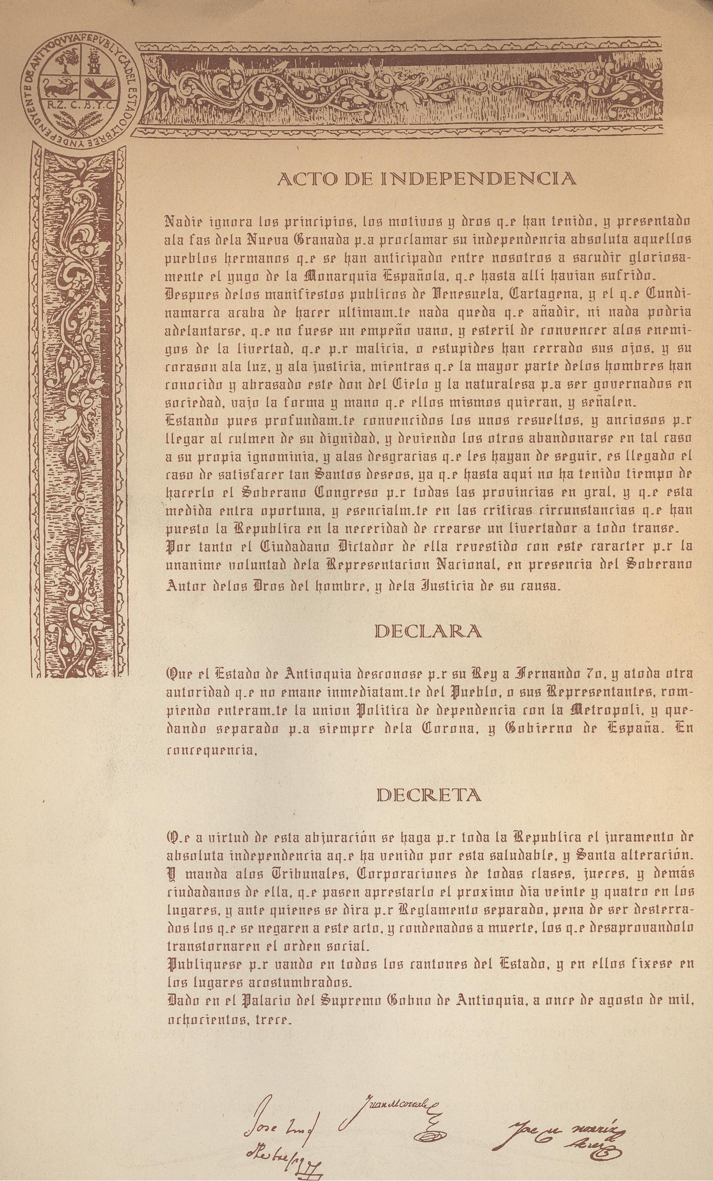 11 De Agosto : 198 años de la independencia de Antioquia | Legado ...