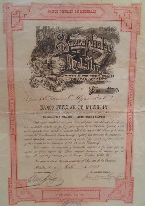 Título de propiedad de una acción del Banco Popular de Medellín. 1899