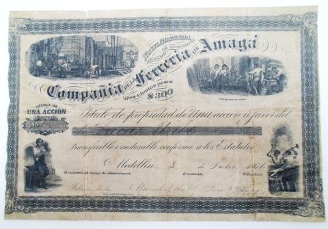 Título de propiedad de una acción de la Ferrería de Amagá. 1866
