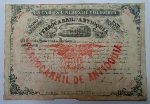 Bono por $100 del Ferrocarril de Antioquia. 1876