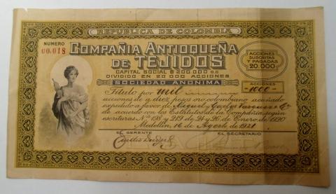 Título de Acciones de la Compañía Antioqueña de Tejidos. 1921